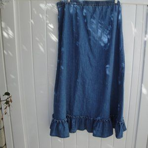 AVON Skirts - VINTAGE DENIM MAXI ruffle Skirt S Chambray